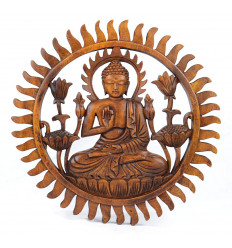 Decor wall Buddha in solid wood carved hand 30cm