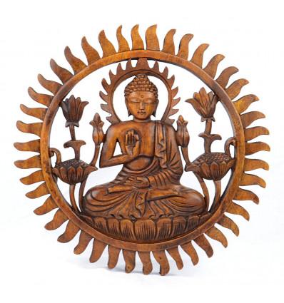 Arredamento parete di Buddha in legno massello intagliato a mano 30cm