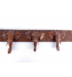Peg wall coat rack 3 heads elephant