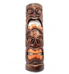 Masque Tiki en bois massif h50cm. Fabrication artisanale