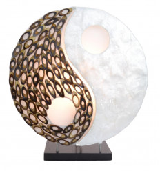 Lamp exotic motif Yin-Yang mother-of-pearl and bamboo