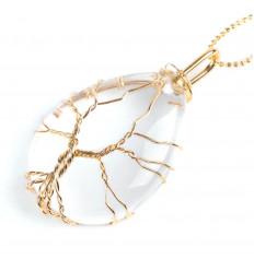 Collier avec pendentif ARBRE DE VIE en forme de goutte. Cristal de roche naturel - Force et Purification