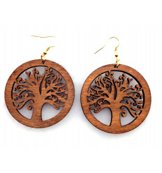 Earrings Tree of Life wooden