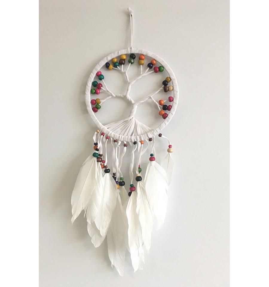 attrape r ves forme arbre de vie 45x17cm perles multicolores ebay. Black Bedroom Furniture Sets. Home Design Ideas
