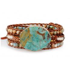 Bracelet Wrap cuir et Jaspe Océan - Harmonisation et équilibre