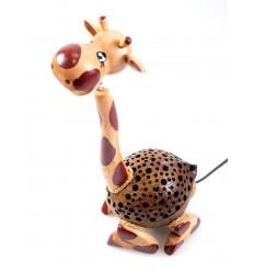 Lampe Girafe en bois et noix de coco sculptée - Fabrication artisanale - Thaïlande