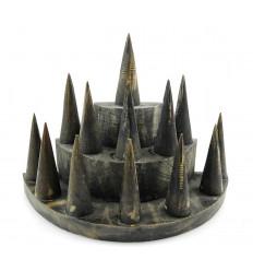 "Door-rings / Display stand for rings (13 cones) in wood finishing ""black vintage"""