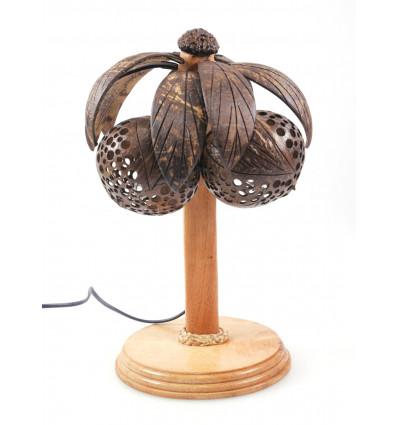 Lampe Palmier Cocotier en bois et noix de coco sculptée - Fabrication artisanale - Thaïlande