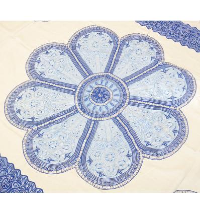 Tenture murale 170x115cm style mandala - Blanc et bleu avec sequins argentés