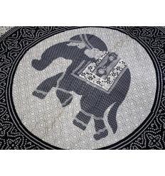 Tenture murale éléphant 170x115cm - Coloris beige et noir