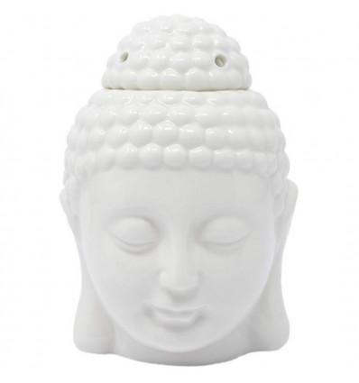 Brule parfum tete de Bouddha Zen en ceramique artisanale blanche
