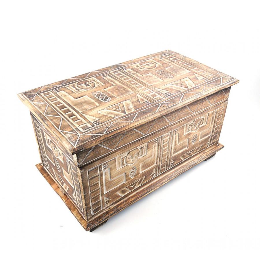 coffre de rangement en bois style ethnique africain achat. Black Bedroom Furniture Sets. Home Design Ideas