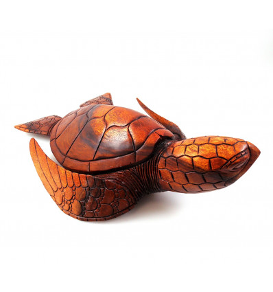 Statue Turtle of earth XL 40cm. Wood carving artisan.