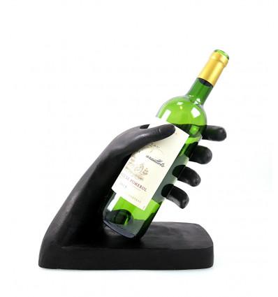 "Bottle holder - Display wine bottle ""Thinker"" wood finishing wax in natural."
