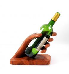 """Porte bouteille - Présentoir à bouteille de vin """"Main"""" en bois."""