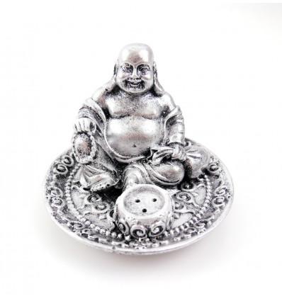 Porte-encens Bouddha chinois avec un chapelet dans sa main