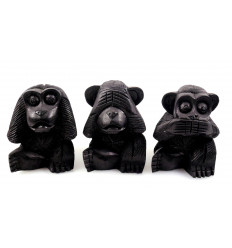 """The 3 monkeys """"secret of happiness"""". Statuettes solid wood H10cm"""