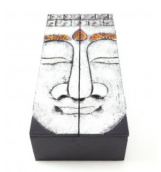 Tea box, jewelry box wood pattern Buddha. Handcrafted.
