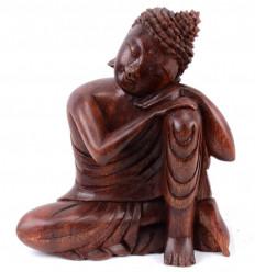 Statue de Bouddha assis h20cm en bois massif sculpté main