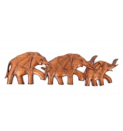 Frise murale Famille d'éléphants 50cm en bois massif sculpté main