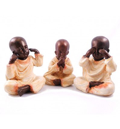 """The 3 Monks """"secret of happiness"""". Statuettes in resin belly white h20cm"""