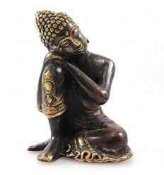 Statuette Bouddha penseur en bronze massif, artisanat d'Asie.