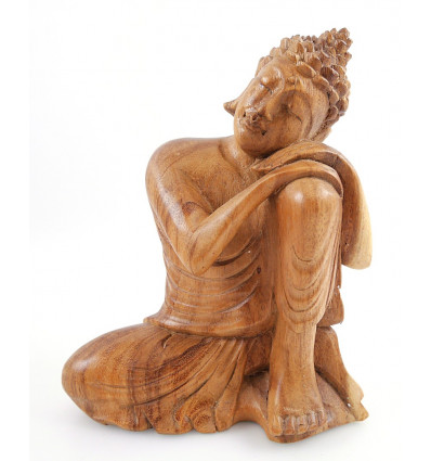 Sitting Buddha Statue h20cm raw wood carved hand
