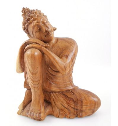 Statua di Buddha seduto h20cm raw in legno intagliato a mano