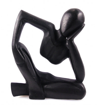Statue abstract Thinker H20cm solid wood black