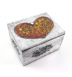 Boîte cœur style ethnique en bois, décorée à la main, pas cher.