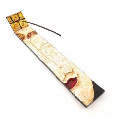 Porte-encens en bois style asiatique pour bâtons.