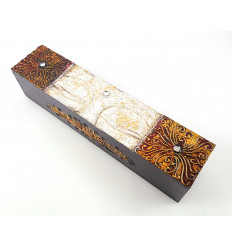 Box asian ethnic wood. Storage tea incense remote control.