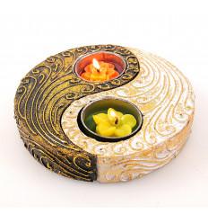 Candelabro a forma di Yin Yang in legno decorazione zen feng shui.