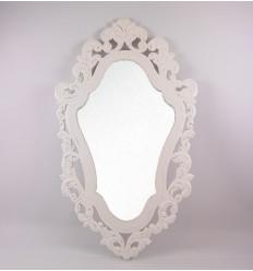 Large mirror baroque wood 80x50cm grey patina.