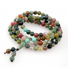 Mala tibétain en Agate multicolore - Bracelet multirang