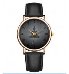 Montre fantaisie mixte motif Bouddha - bracelet similicuir noir