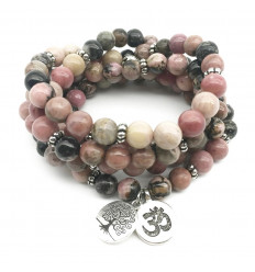 Mala 108 beads Rhodonite natural - Symbols Ôm and Tree of life