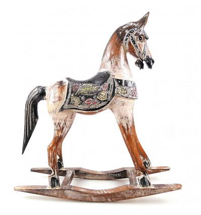 Cheval à bascule en bois, achat statue rétro vintage nostalgique.