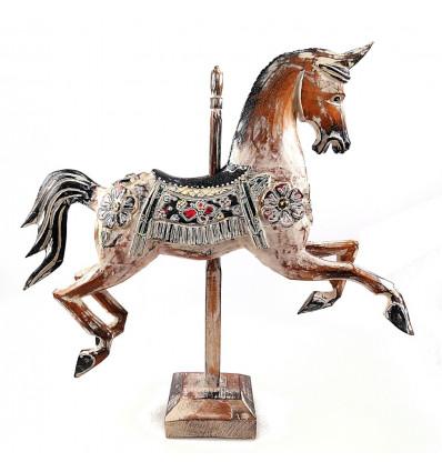 Cheval de manège carrousel bois, statue décoration rétro vintage.
