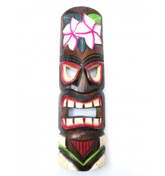 Tiki mask h50cm wood Flower motif. Decoration Tahiti