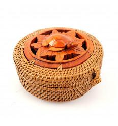 Piccola scatola rotonda in rattan e legno, decorazioni tartaruga