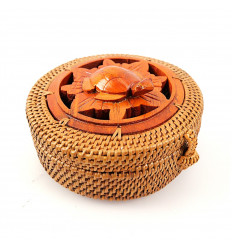 Small round tin hand crafted rattan wood turtle. gift turtle.