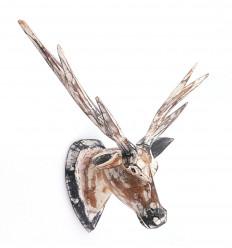 Trofeo testa di Cervo a muro in legno, in stile scandinavo