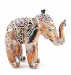 Éléphant, statue en bois patiné vintage 25cm