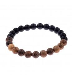 Bracelet mixte bi-matière - Perles Bois et Bianshi