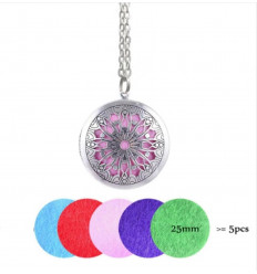 Aromatherapy necklace with pendant, aroma diffuser, silver.