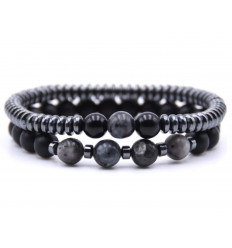 Lot de 2 bracelets Agate noire, Hématite et Labradorite
