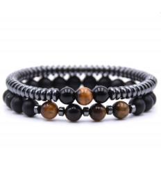 Lot de 2 bracelets Agate noire, Hématite et Oeil du tigre
