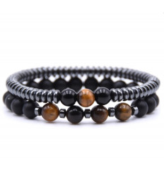 Lot of 2 bracelets black Agate, Hematite, and Eye of the tiger