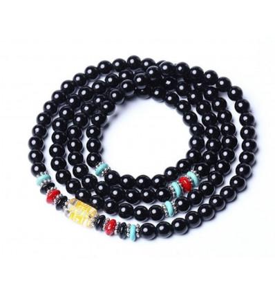 Bracelet Tibetan gear - black Agate and Rock crystal